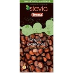 Čokoláda horká s liesk.orechami Stevia 125g Torras