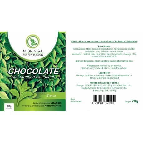 Moringa  horká čokoláda so stéviou 70g
